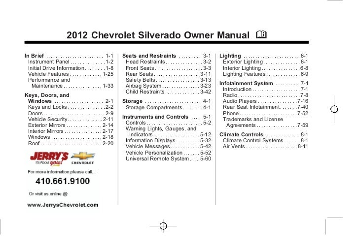 Chevrolet owners user manuals user manuals user manuals chevrolet silverado owner manual 2012 fandeluxe Gallery